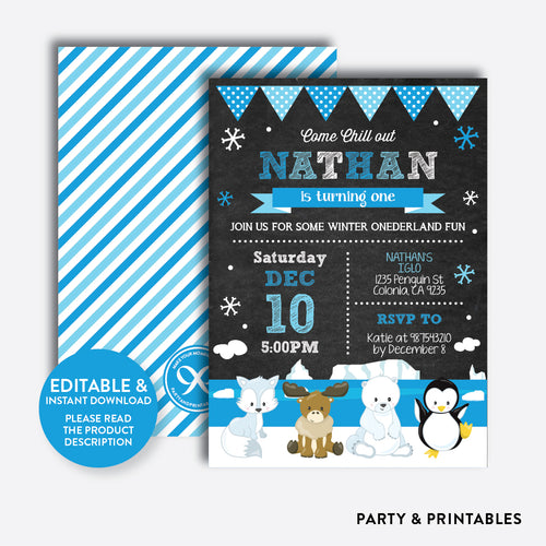 Arctic Chalkboard Kids Birthday Invitation / Editable / Instant Download (CKB.444)