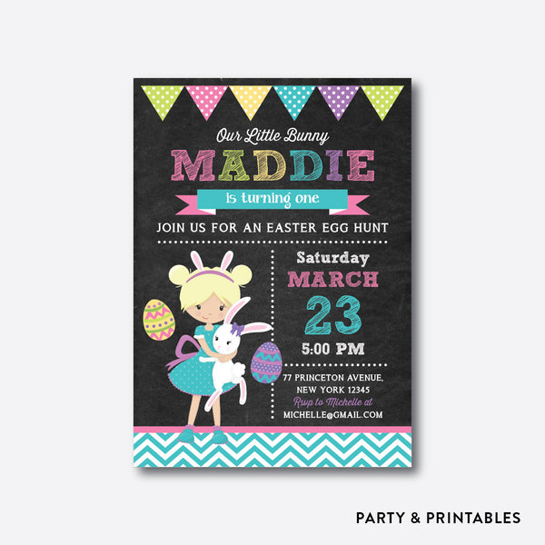 Easter Time Fun Girl Chalkboard Kids Birthday Invitation / Personalized (CKB.445), invitation - Party and Printables