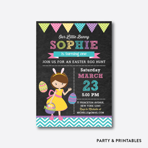 Easter Time Fun Girl Chalkboard Kids Birthday Invitation / Personalized (CKB.446)