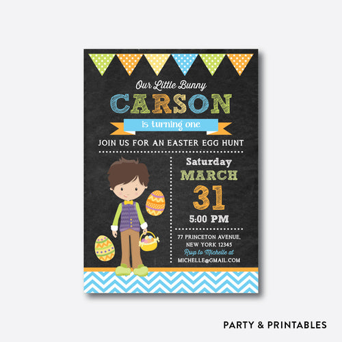 Easter Time Fun Boy Chalkboard Kids Birthday Invitation / Personalized (CKB.447)