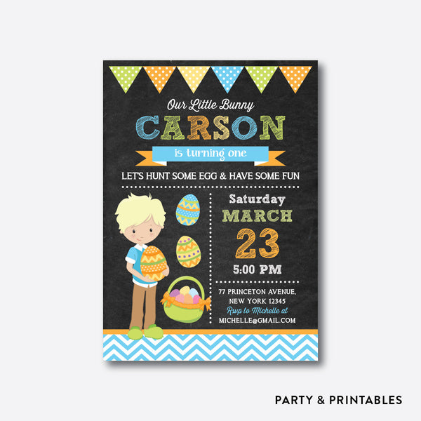 Easter Time Fun Boy Chalkboard Kids Birthday Invitation / Personalized (CKB.448), invitation - Party and Printables