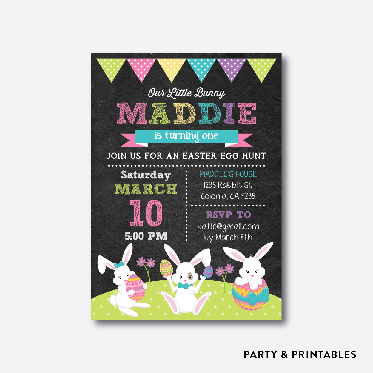 Easter Bunny Chalkboard Kids Birthday Invitation / Personalized (CKB.450), invitation - Party and Printables