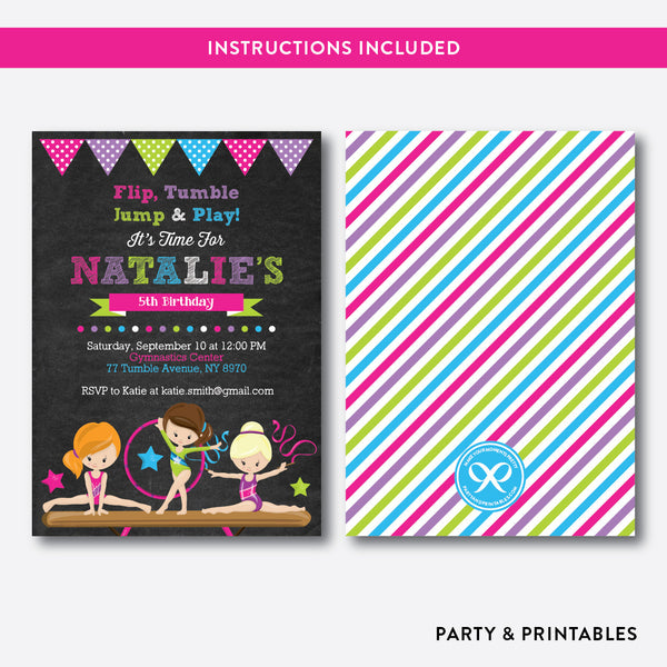 Gymnastics Chalkboard Kids Birthday Invitation / Editable / Instant Download (CKB.465)