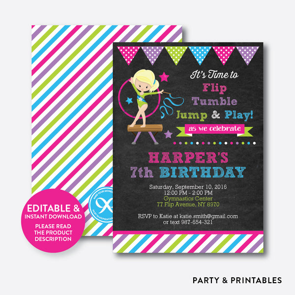 Gymnastics Chalkboard Kids Birthday Invitation / Editable / Instant Download (CKB.466B), invitation - Party and Printables