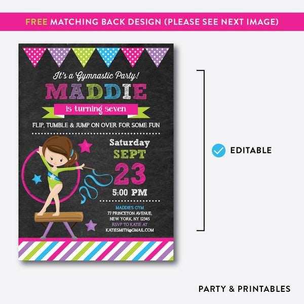 Gymnastics Chalkboard Kids Birthday Invitation / Editable / Instant Download (CKB.466C), invitation - Party and Printables