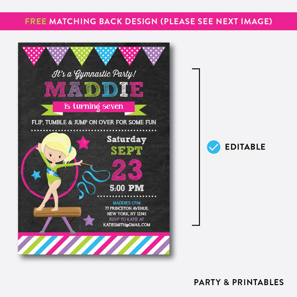Gymnastics Chalkboard Kids Birthday Invitation / Editable / Instant Download (CKB.466D), invitation - Party and Printables
