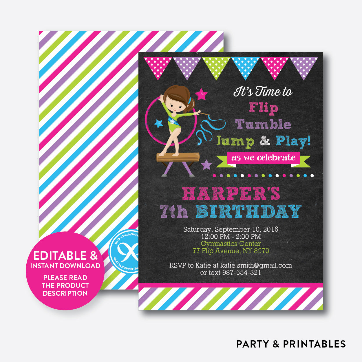Gymnastics Chalkboard Kids Birthday Invitation / Editable / Instant Download (CKB.466), invitation - Party and Printables