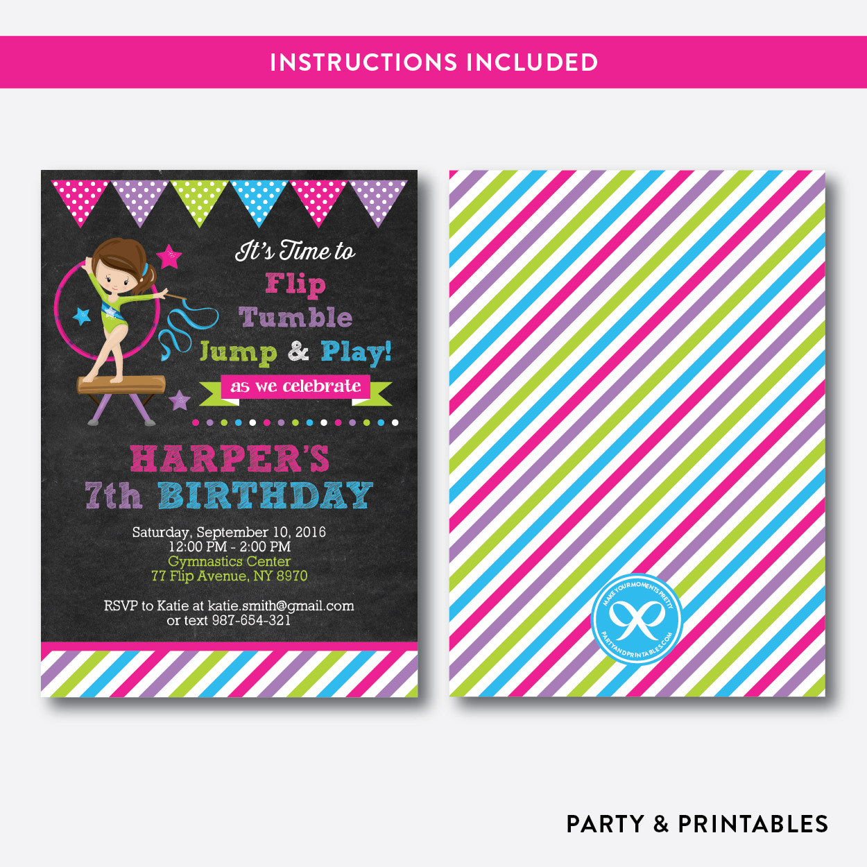 Gymnastics Chalkboard Kids Birthday Invitation / Editable / Instant Download (CKB.466)
