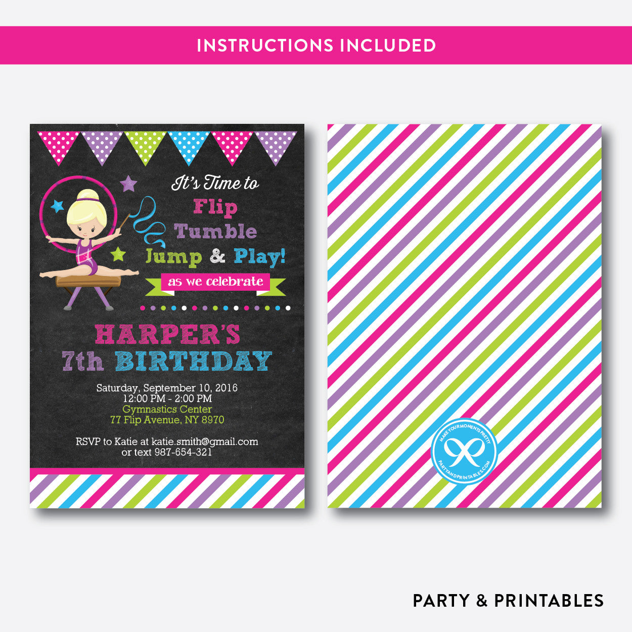 Gymnastics Chalkboard Kids Birthday Invitation / Editable / Instant Download (CKB.467B), invitation - Party and Printables