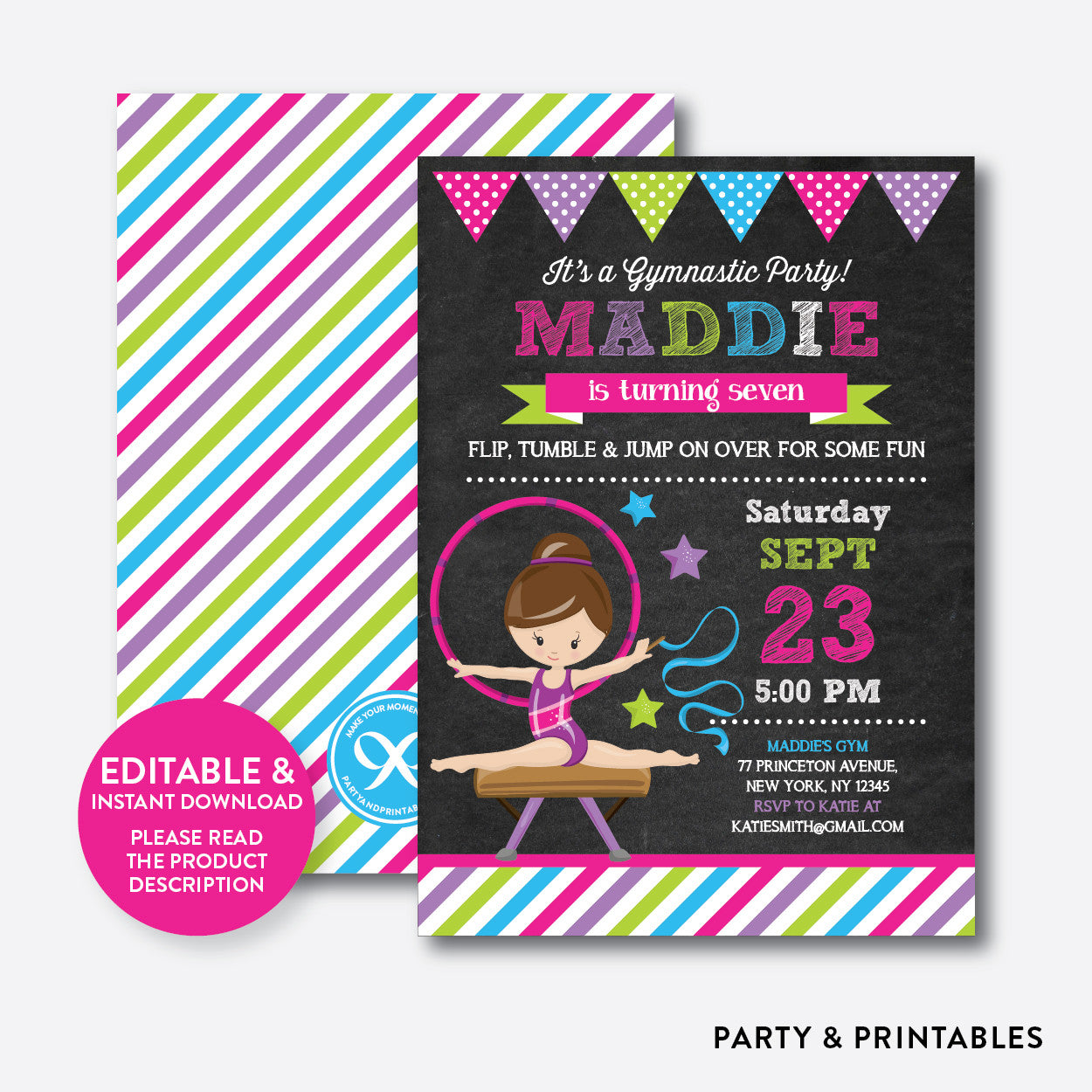 Gymnastics Chalkboard Kids Birthday Invitation / Editable / Instant Download (CKB.467C), invitation - Party and Printables
