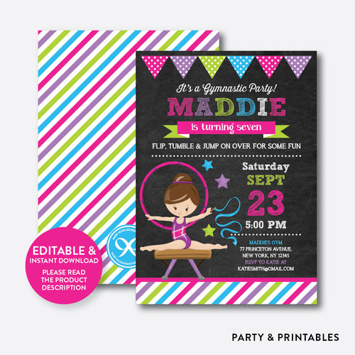 Gymnastics Chalkboard Kids Birthday Invitation / Editable / Instant Download (CKB.467C)