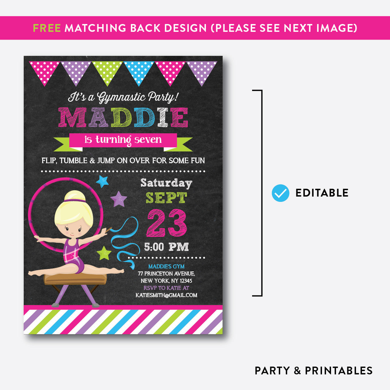Gymnastics Chalkboard Kids Birthday Invitation / Editable / Instant Download (CKB.467D), invitation - Party and Printables
