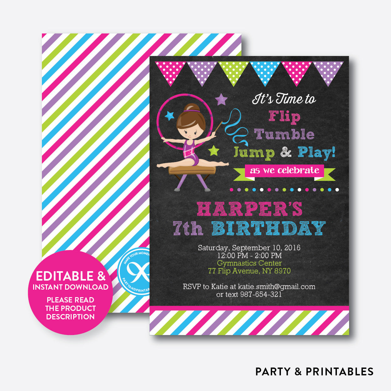 Gymnastics Chalkboard Kids Birthday Invitation / Editable / Instant Download (CKB.467), invitation - Party and Printables