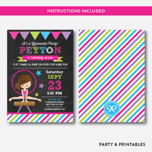 Gymnastics Chalkboard Kids Birthday Invitation / Editable / Instant Download (CKB.468C), invitation - Party and Printables
