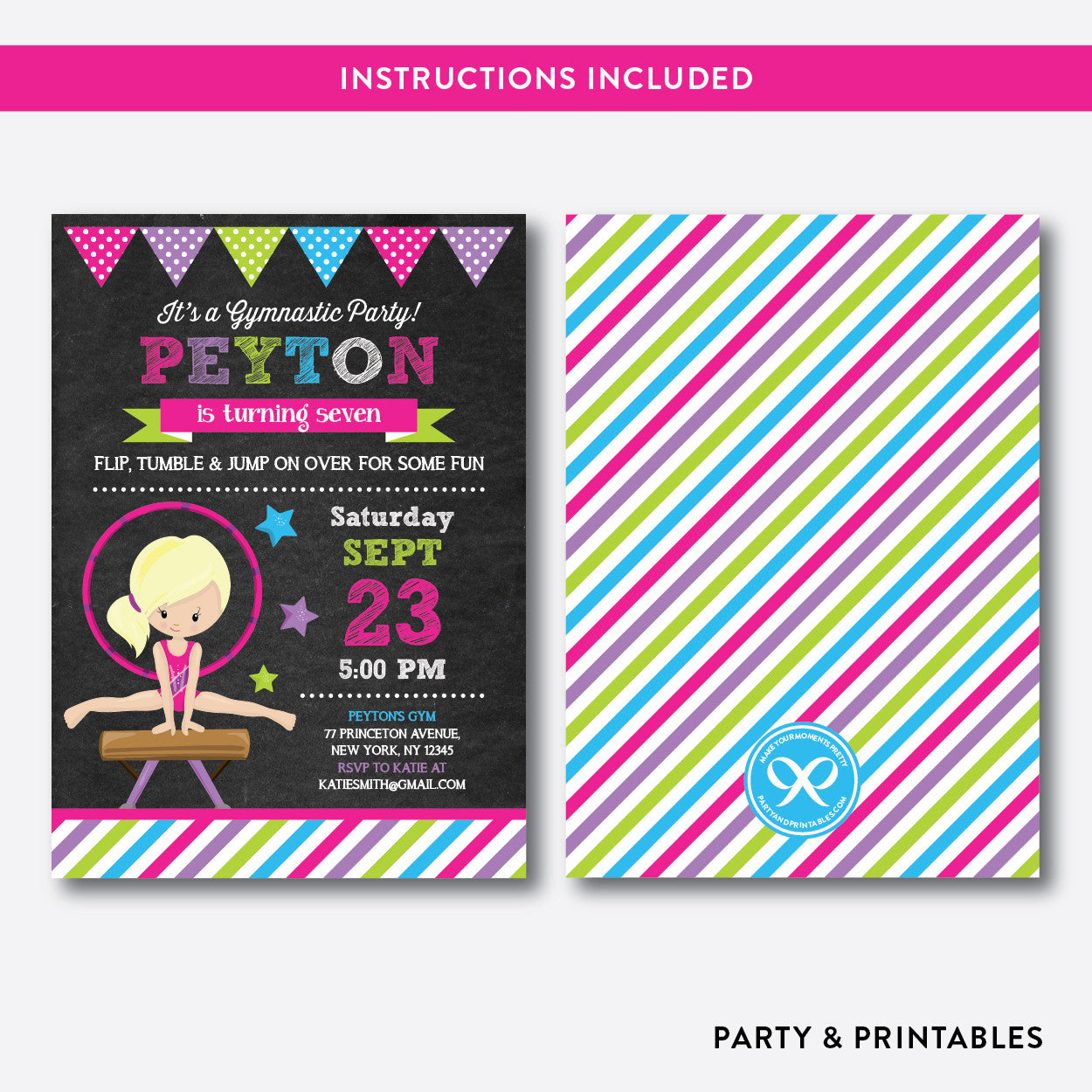Gymnastics Chalkboard Kids Birthday Invitation / Editable / Instant Download (CKB.468D), invitation - Party and Printables