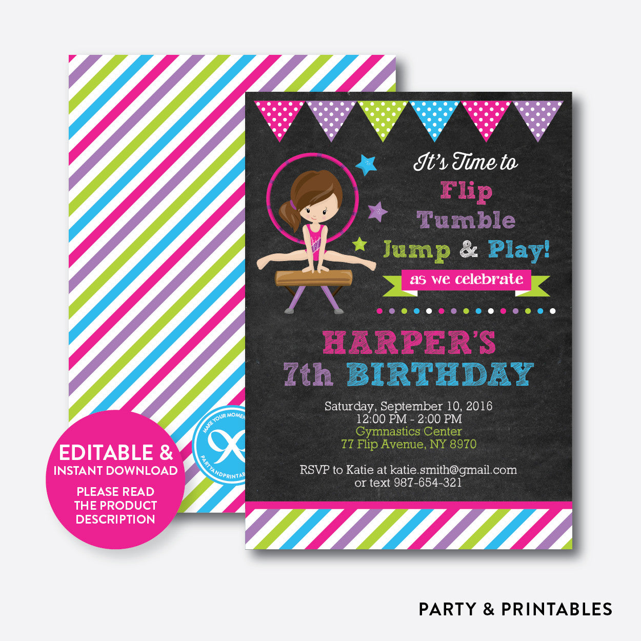 Gymnastics Chalkboard Kids Birthday Invitation / Editable / Instant Download (CKB.468), invitation - Party and Printables