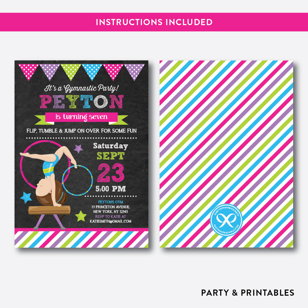 Gymnastics Chalkboard Kids Birthday Invitation / Editable / Instant Download (CKB.469C), invitation - Party and Printables