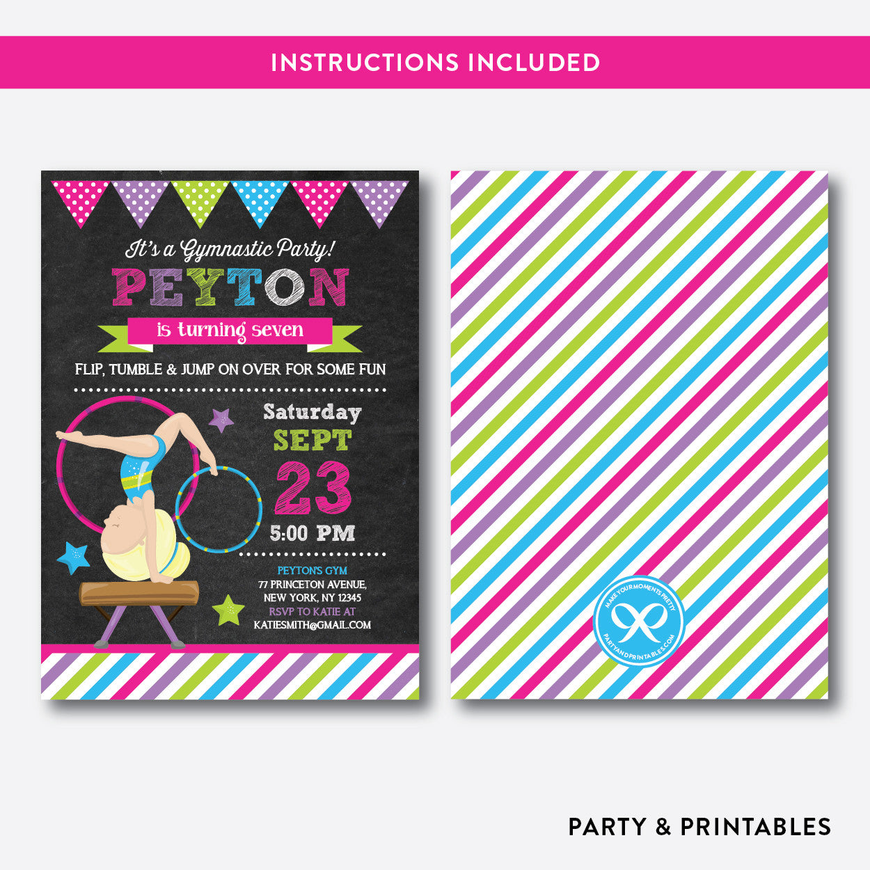 Gymnastics Chalkboard Kids Birthday Invitation / Editable / Instant Download (CKB.469D), invitation - Party and Printables