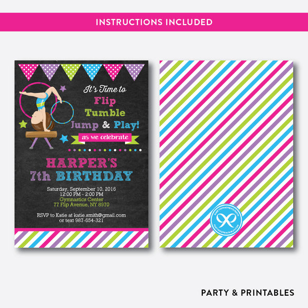 Gymnastics Chalkboard Kids Birthday Invitation / Editable / Instant Download (CKB.469), invitation - Party and Printables