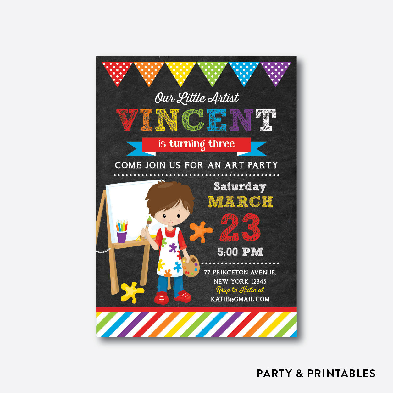 Little Artist Boy Chalkboard Kids Birthday Invitation / Personalized (CKB.470)