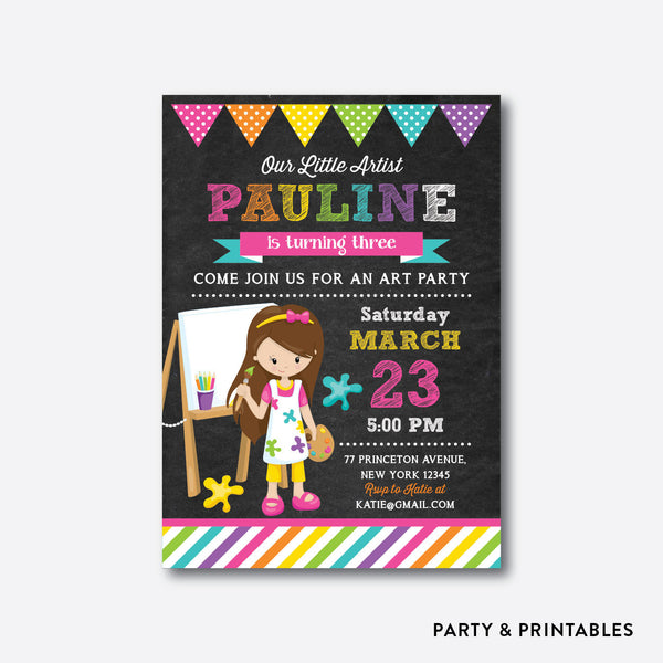 Little Artist Girl Chalkboard Kids Birthday Invitation / Personalized (CKB.471)