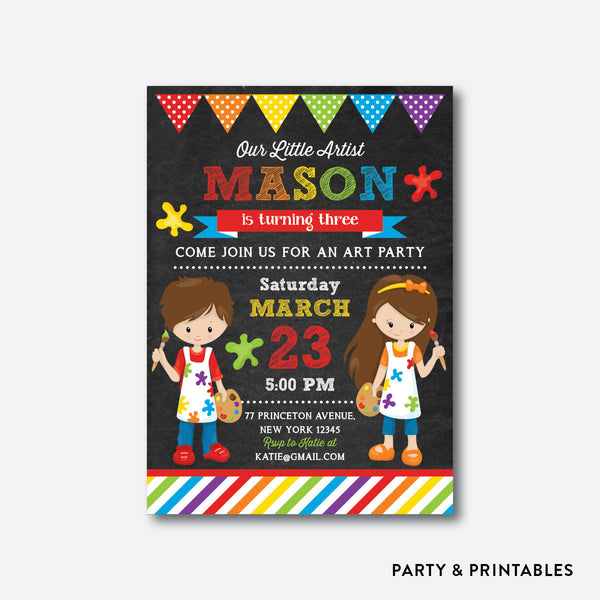 Little Artist Red Chalkboard Kids Birthday Invitation / Personalized (CKB.472)
