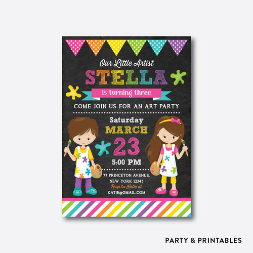 Little Artist Pink Chalkboard Kids Birthday Invitation / Personalized (CKB.473)