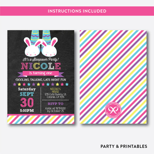 Pajamas Party Kids Birthday Invitation / Editable / Instant Download (CKB.474), invitation - Party and Printables