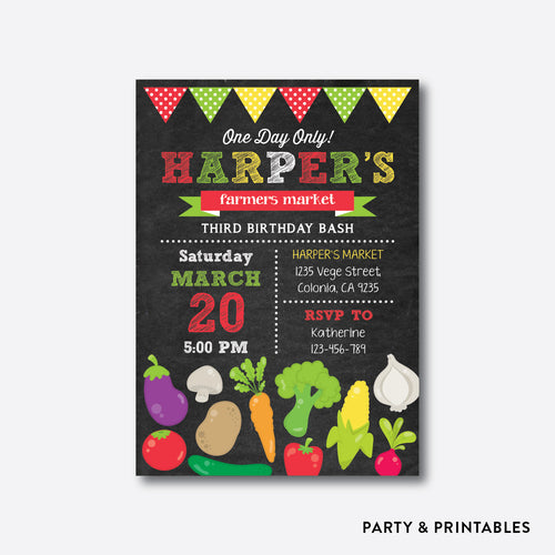 Farmers Market Chalkboard Kids Birthday Invitation / Personalized (CKB.475)