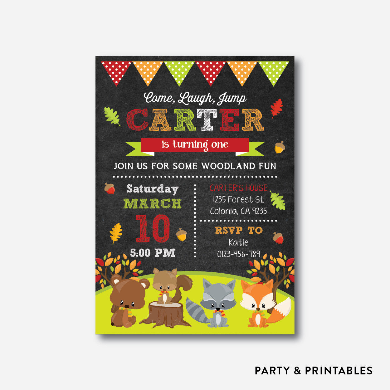 Fall Woodland Chalkboard Kids Birthday Invitation / Personalized (CKB.476), invitation - Party and Printables