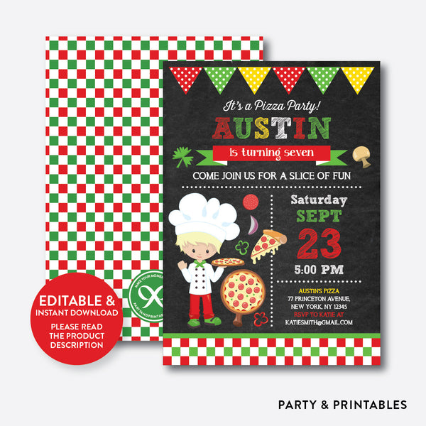 Pizza Chalkboard Kids Birthday Invitation / Editable / Instant Download (CKB.477B), invitation - Party and Printables