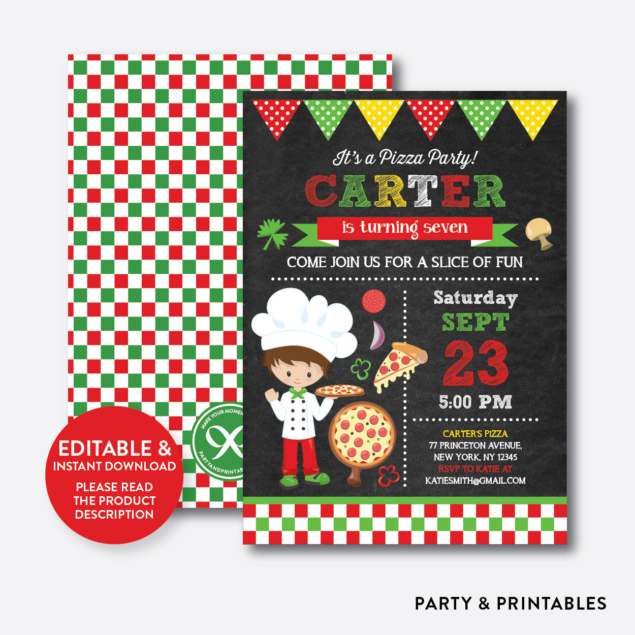 Pizza Chalkboard Kids Birthday Invitation / Editable / Instant Download (CKB.477), invitation - Party and Printables