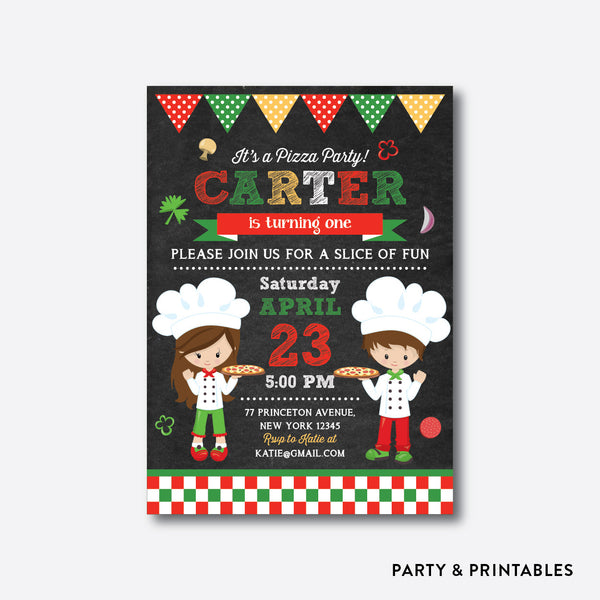 Pizza Party Chalkboard Kids Birthday Invitation / Personalized (CKB.479), invitation - Party and Printables