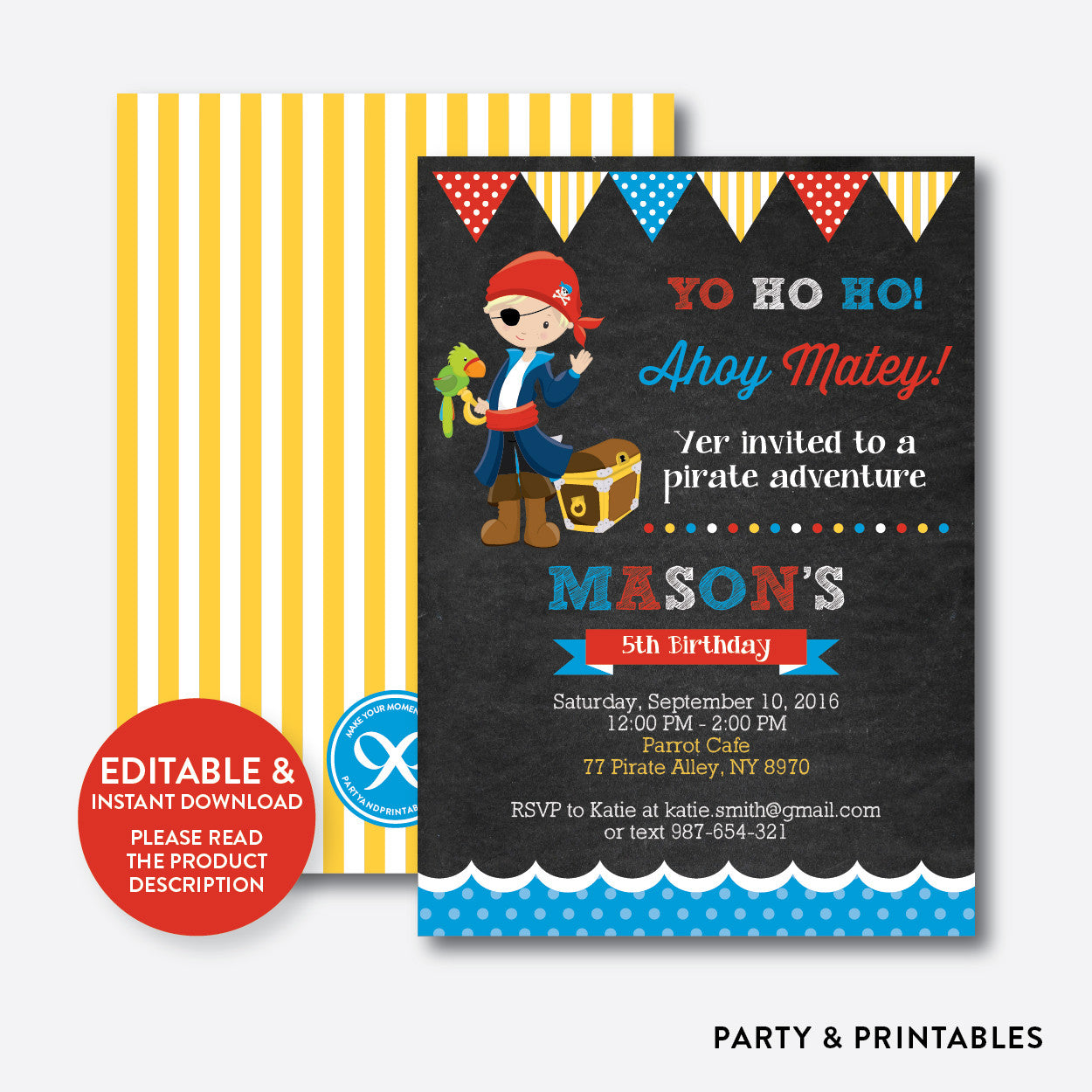 Pirate chalkboard kids birthday invitation editable instant pirate chalkboard kids birthday invitation editable instant download ckb47b stopboris Image collections