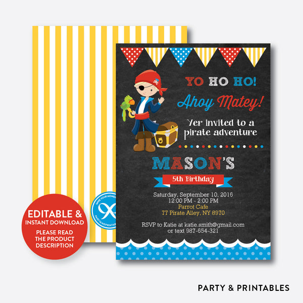 Pirate Chalkboard Kids Birthday Invitation / Editable / Instant Download (CKB.47B), invitation - Party and Printables