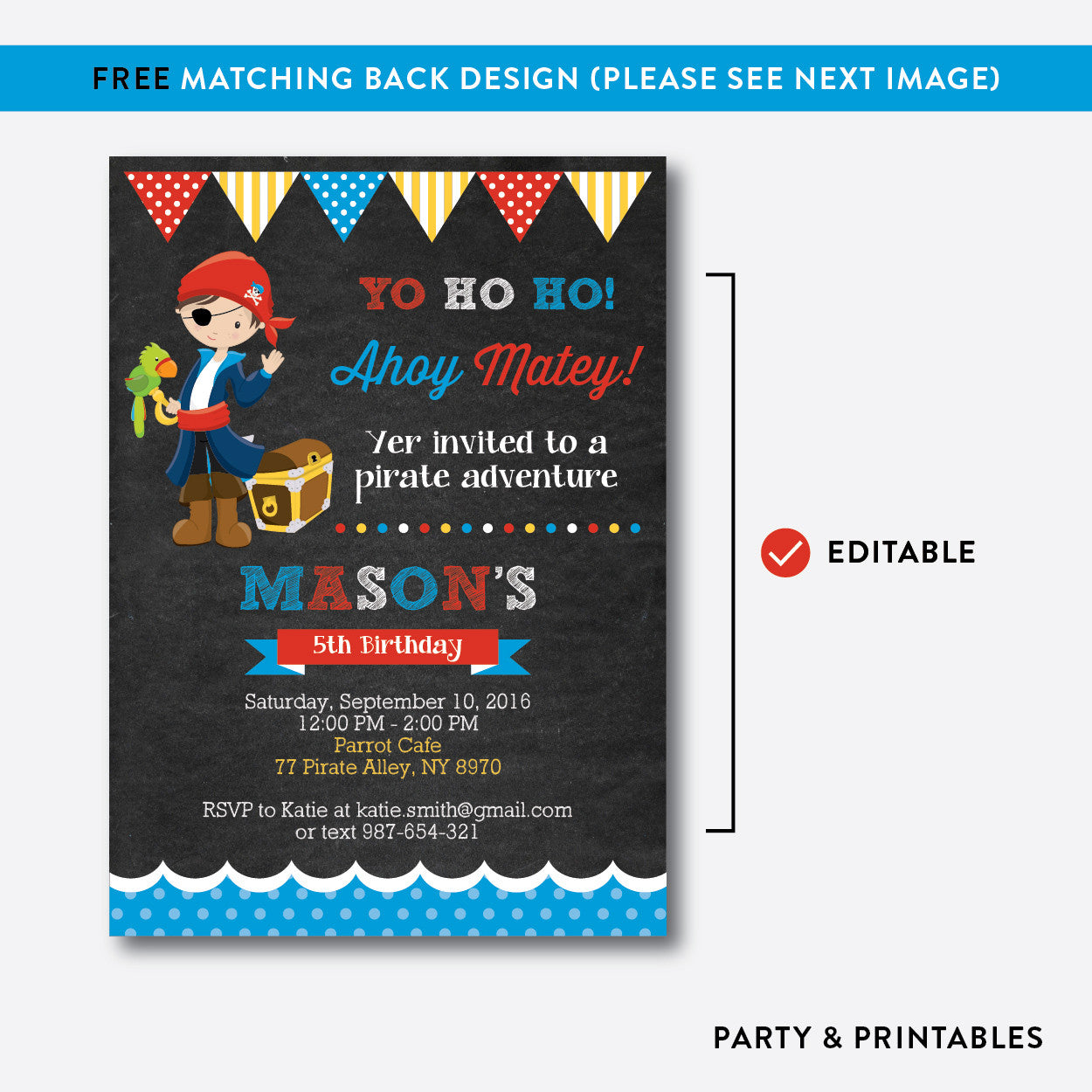 Pirate Chalkboard Kids Birthday Invitation / Editable / Instant Download (CKB.47), invitation - Party and Printables