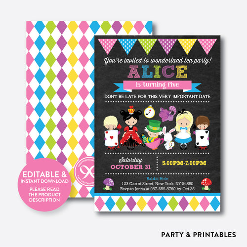 Alice in Wonderland Chalkboard Kids Birthday Invitation / Editable / Instant Download (CKB.480)