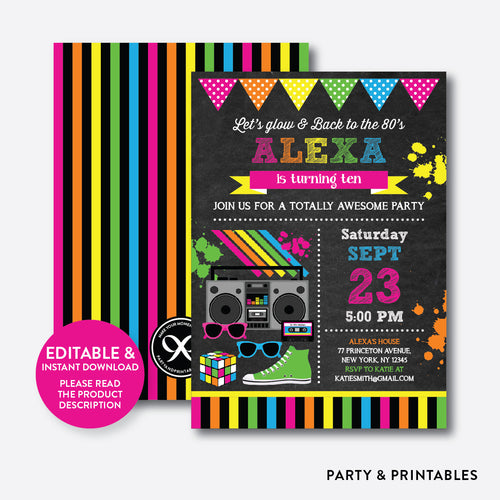80s Chalkboard Kids Birthday Invitation / Editable / Instant Download (CKB.487B)