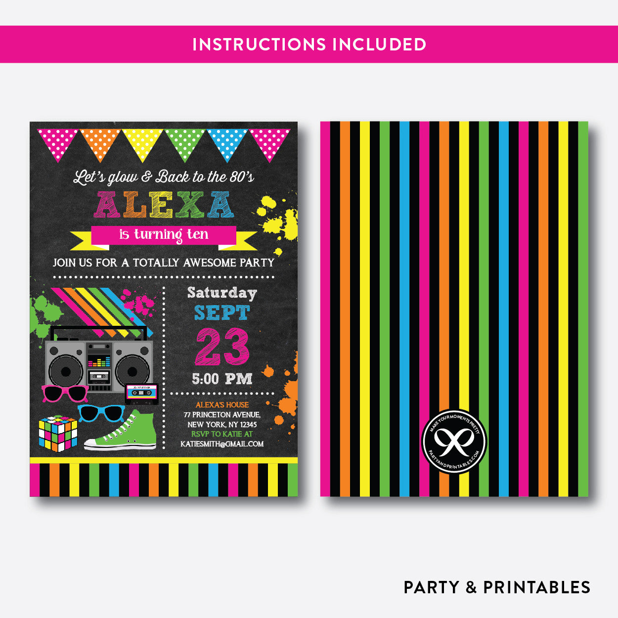 80s Chalkboard Kids Birthday Invitation / Editable / Instant Download (CKB.487B), invitation - Party and Printables