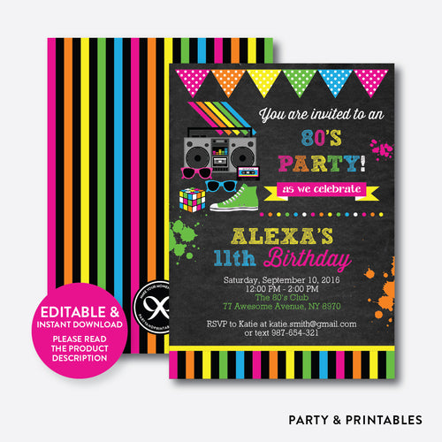 80s Chalkboard Kids Birthday Invitation / Editable / Instant Download (CKB.487)