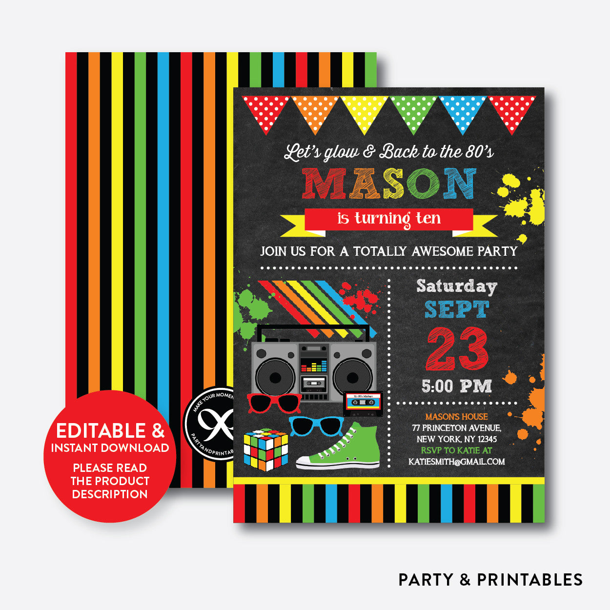 80s Chalkboard Kids Birthday Invitation / Editable / Instant Download (CKB.488B), invitation - Party and Printables