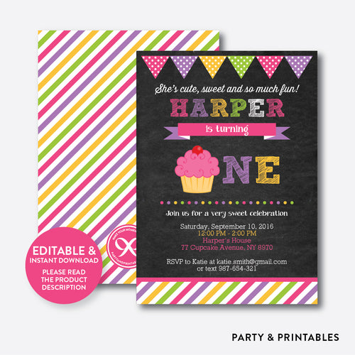 Cupcake Chalkboard 1st Birthday Invitation / Editable / Instant Download (CKB.489B)