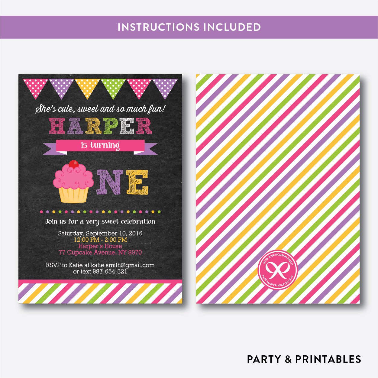 Cupcake Chalkboard 1st Birthday Invitation / Editable / Instant Download (CKB.489B), invitation - Party and Printables