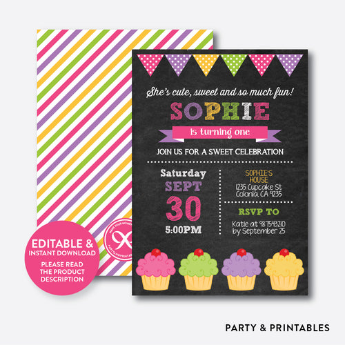 Cupcake Chalkboard Kids Birthday Invitation / Editable / Instant Download (CKB.489C)