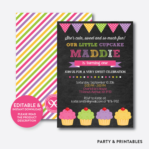 Cupcake Chalkboard Kids Birthday Invitation / Editable / Instant Download (CKB.489)