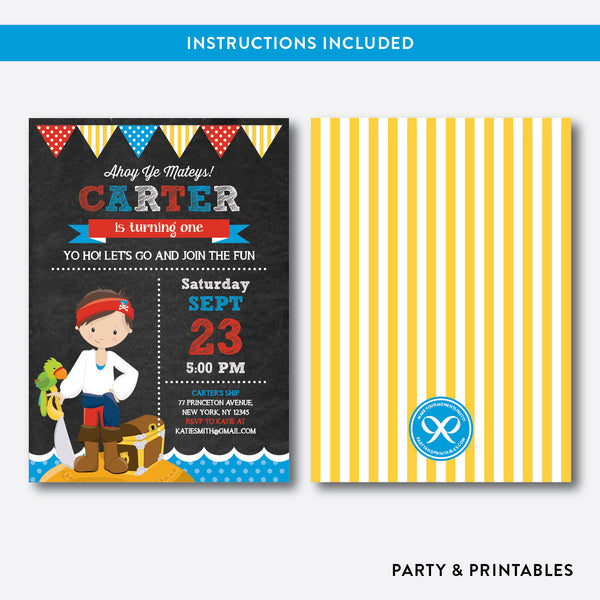 Pirate Chalkboard Kids Birthday Invitation / Editable / Instant Download (CKB.48), invitation - Party and Printables