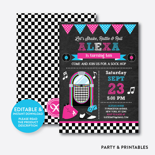 50s Chalkboard Kids Birthday Invitation / Editable / Instant Download (CKB.490)
