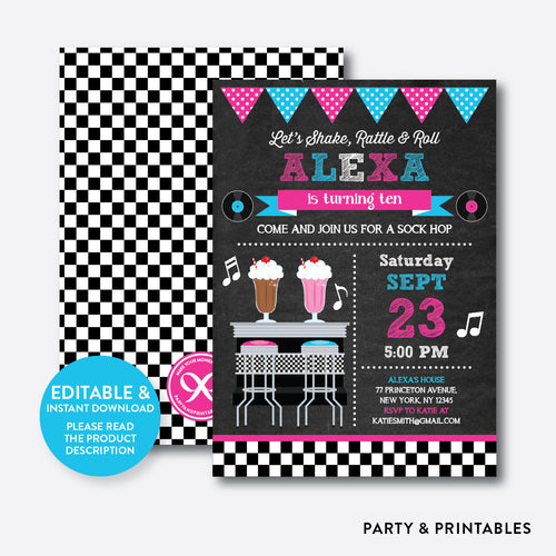 50s Chalkboard Kids Birthday Invitation / Editable / Instant Download (CKB.491)