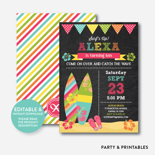 Luau Surf Chalkboard Kids Birthday Invitation / Editable / Instant Download (CKB.492)