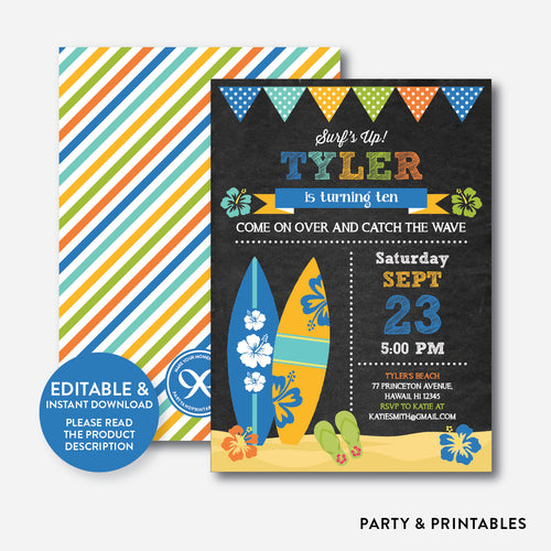 Luau Surf Chalkboard Kids Birthday Invitation / Editable / Instant Download (CKB.493)